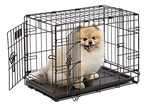 Dog Crate, MidWest iCrate XS Double Door Folding Metal Dog Crate with...