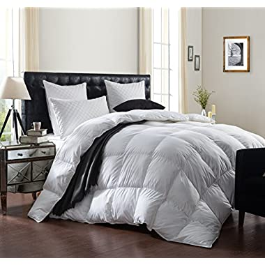 Egyptian Bedding LUXURIOUS 1200 Thread Count GOOSE DOWN Comforter, 1200TC - 100% Egyptian Cotton Cover, 750 Fill Power, 50 Oz Fill Weight, White Color (California King)