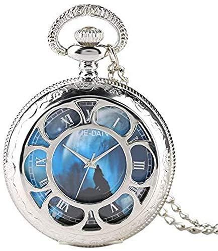 Reloj de Bolsillo de Cuarzo Hueco Plateado con Esfera de Lobo aullador Relojes de Fob para Hombre...