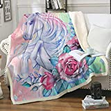 FairyShe Throw Blankets Unicorn Sherpa Fleece Blanket with Horse Flowers for Girls Adults,Soft Worm Plush Blanket for Bed Couch Chair Living Room Travel Outdoors (50'x60', Flowers Horse)