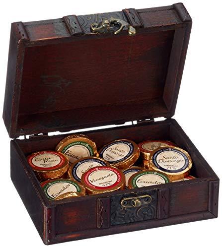 Römer Präsente Geschenkset: Aztekenschatz mit 32 Schokoladentalern als Golddublonen (ca. 256 g) in einer Schatzkiste; 4 verschiedene Kakaogehälter von 38 % bis 71 %