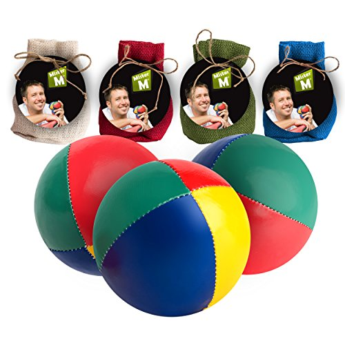 Palle da giocoleria  Approvato CE  il set complete da giocoliere composto da 3 palle con video tutorial online in sacco di juta beige - a cura di Mister M (Beige, 3 Palle)
