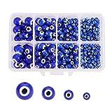 NBEADS 1 Box (ca. 390 Stück), 4 Größen, handgefertigt, Runde Böser Blick Lampwork Beads Beads...