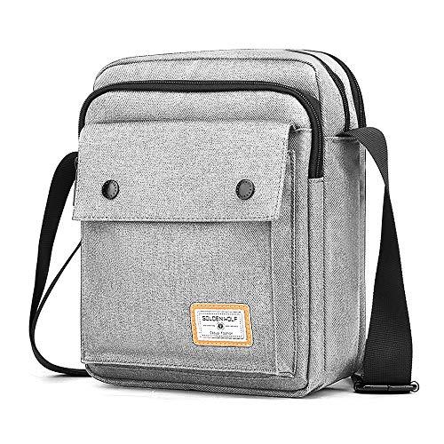BAIGIO Borsello Uomo Tracolla Sport, Borsa a Tracolla Messenger Bag Impermeabile Borsa a Spalla Casual Lavoro Viaggio per Ipad 9.7 Pollici (Grigio-1)