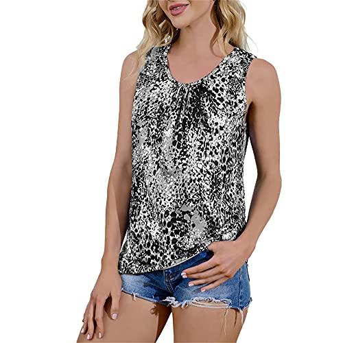 Mayntop - Canotta da donna per l'estate, con stampa leopardata senza maniche/manica corta taglie forti a-grigio 40