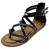 Ollio Women's Shoe Gladiator Strap Flat Zori Sandal M1052 (8 B(M) US, Black)