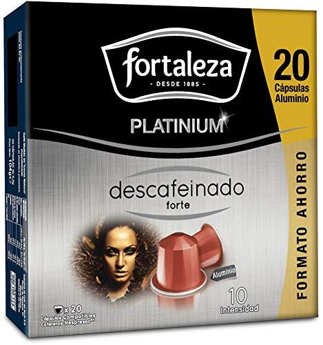 Café Fortaleza Platinium – Cápsulas Compatibles con Nespresso, de Aluminio, Descafeinado Forte, Sabor Intenso, Tueste Natural, Pack 8x20 - Total 160 uds
