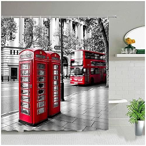 XXzhang Juego de Cortinas de Ducha de baño Retro con Cabina de teléfono roja clásica de Londres, Cortinas de Tela Impermeables, Arte de Moda, bañera, decoración del hogar-180x180cm