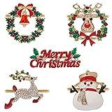 Anillos de Servilletas de Navidad 5pcs Servilleteros Navidad Aro de Servilleta Hebilla Servilleteros de Navidad Ciervo para Fiesta de Navidad Bodas Banquetes Decoración de Mesa