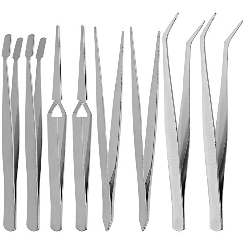 COM-FOUR® 8-delige set industriële pincetten, hobbyistenpincetten voor thuis en hobby (08 stuks - pincet)