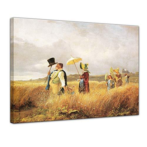 Wandbild Carl Spitzweg Sonntagsspaziergang - 50x40cm quer - Alte Meister Berühmte Gemälde Leinwandbild Kunstdruck Bild auf Leinwand