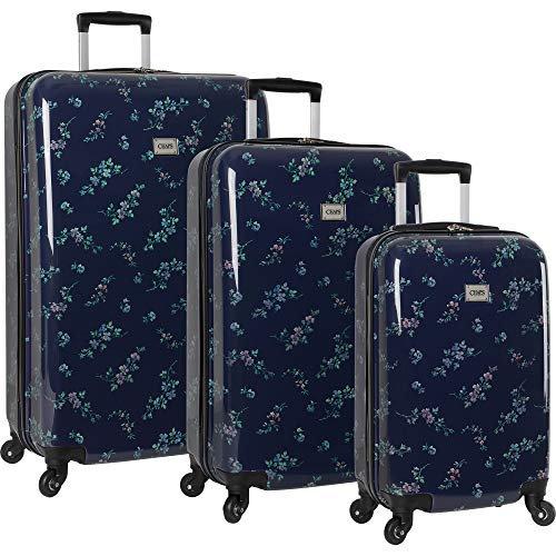 Chaps Lightweight Luggage 3 Piece Suitcase Set with Spinner Wheels-1, Navy Bouquet, One Size