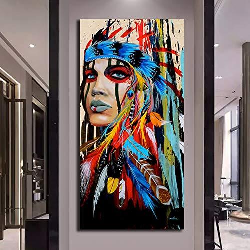N / A Rahmenlose Malerei Bunte Feder Mädchen Ölgemälde Leinwand Schönheit Wandkunst Dekoration Wohnzimmer GeschenkZGQ8881 20x40cm