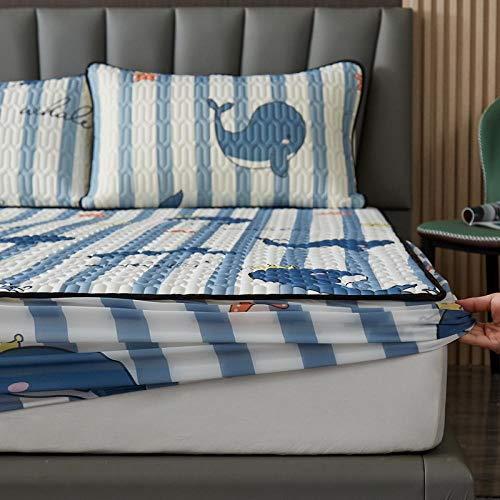 FJMLAY Sábana Bajera clásica,Sábanas Ajustables de Lujo en la Cama para Protectores de colchón Antideslizantes en Apartamentos de Dormitorio-Blue_2_150 * 200cm (3 Piezas)
