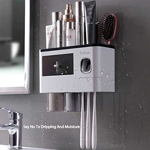 TuCao Dispensador de pasta de dientes automático soporte de pared y soporte para cepillos de...