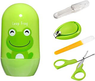 Baby Nail Clippers - Baby Grooming Kit, Baby Manicure Set, Safe Scissor, Nail File & Tweezer with Frog Case (4 in 1) for Newborn, Infant & Toddler Kids Toes and Fingernails (Green)