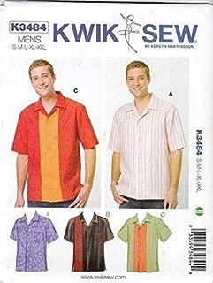 Kwik Sew K3484 Men's Bowling Shirts Sewing Pattern, Size S-M-L-XL-XXL 3484