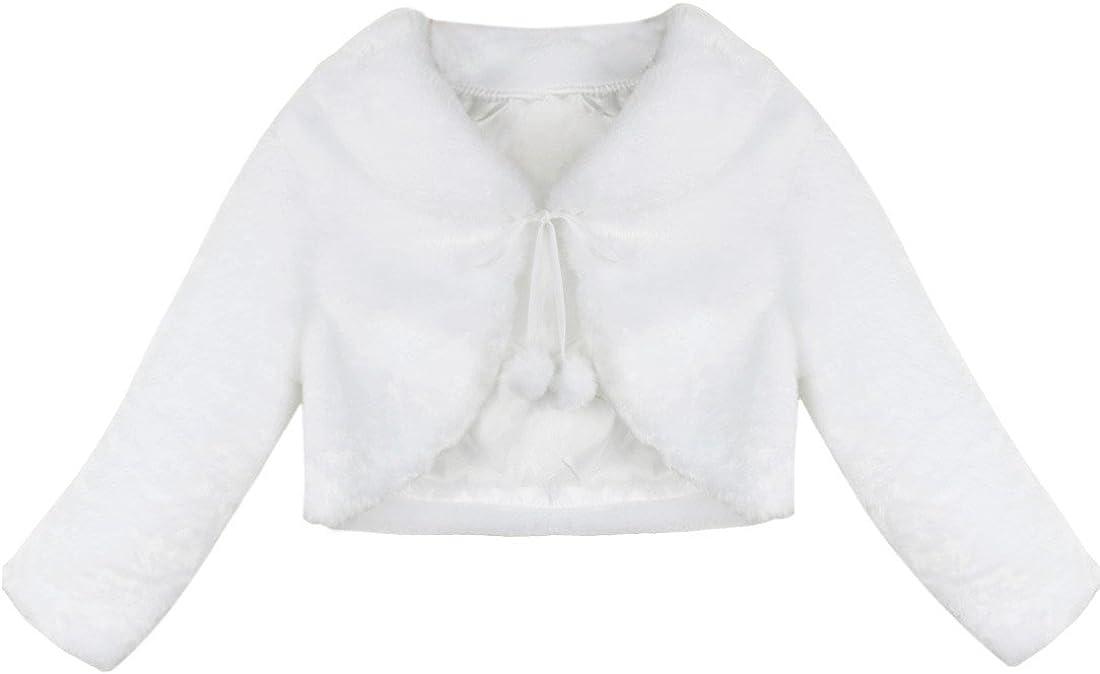 FEESHOW Kids Girls Faux Fur Bolero At the price Wedd Long Flower Sleeve Charlotte Mall Dress