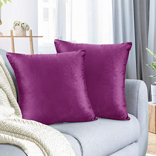 Nestl Throw Euro Pillow Covers, Cozy Velvet Decorative Pillow Covers 26 x 26 Inches, Soft Solid Couch Pillow Case for Sofa, Bed and Car, Set of 2 - Orchid Purple