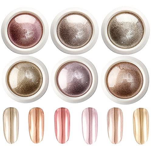 DUOLE - Confezione da 6 scatole in polvere color oro rosa, effetto specchio magico per pigmento in...