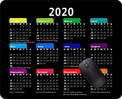 Mauspad mit Kalender 2020 Mauspad, rutschfeste Gummi-Unterseite, für Gaming Tb05