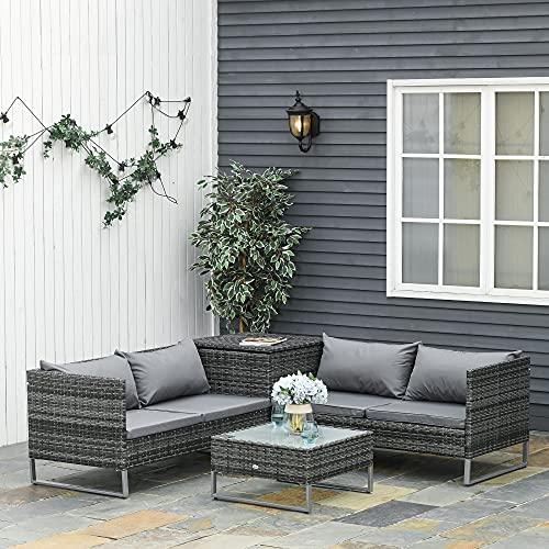Outsunny Conjunto de 4 Muebles de Jardín de Ratán con 2 Sofás Dobles Mesa Central Mesa con Arcón Cojines Extraíbles para Terraza Exterior 132x69x64 cm Gris