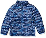 Amazon Essentials Boys' Lightweight Water-Resistant Packable Puffer Jacket Outerwear-Jackets, Camuflado Azul, Large