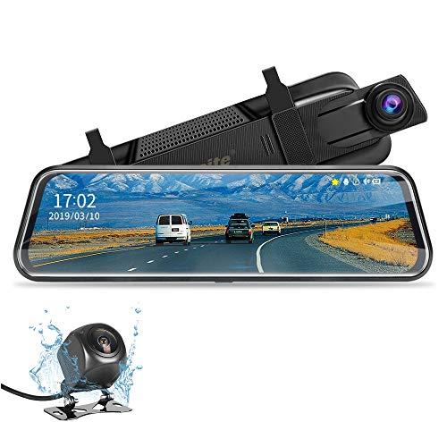 "Jansite【2020 Neue Version】 10"" Retrovisor Coche Mirror Dash CAM Pantalla táctil Cámara de Respaldo 1080P Front CAM y 1080P Camara Trasera, Sistema de Monitoreo de Marcha Atrás"