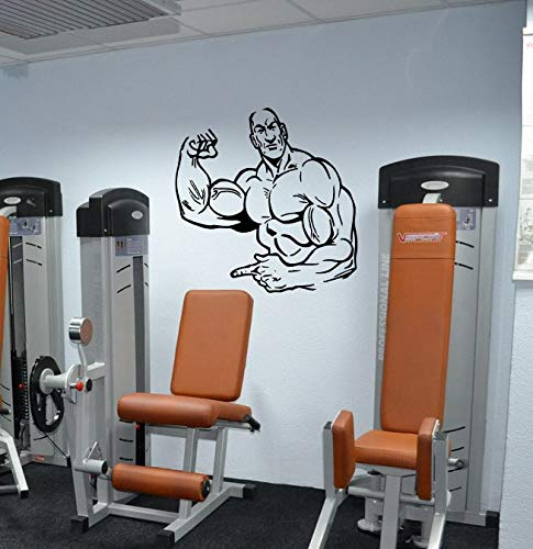 PSpXU Gym Mann Bodybuilding Wandaufkleber Sport Wandaufkleber Mode Kinderzimmer Wandkunst Gymnastik Aufkleber57X55CM