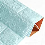 ZXLY Wallpaper Self-adhesive Waterproof Tv Background Brick 3d Wall Sticker Living Room Bedroom Decoration Sticker 6pcs60x60cm Light blue
