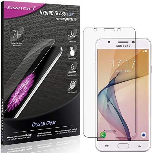 SWIDO Panzerglas Schutzfolie kompatibel mit Samsung Galaxy On5 (2016) Bildschirmschutz-Folie & Glas = biegsames HYBRIDGLAS, splitterfrei, Anti-Fingerprint KLAR - HD-Clear