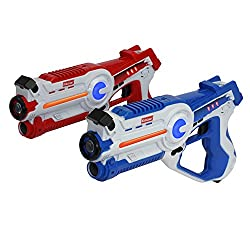top 10 laser tag toys Kidzlane Infrared Laser Tag Game – Two Red / Blue Sets – Indoor and Outdoor Infrared Laser Cannon…