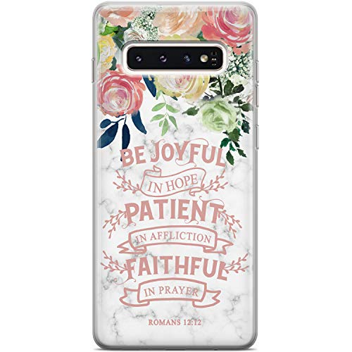 Mertak Clear Case Compatible with Samsung Galaxy A72 5G A71 A70 A60 A51 A50 A12 A01 Romans 12:12 Protective Scripture Bible Verse Be Joyful Roses Flexible TPU Cover Lightweight Silicone Floral
