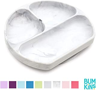 Bumkins Silicone Grip Dish, Suction Plate, Divided Plate, Baby Toddler Plate, BPA Free, Microwave Dishwasher Safe – Marbled