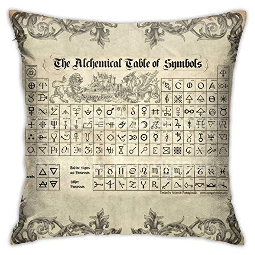antoipyns Alchemy Symbols Periodic Table Throw Pillow Covers, Sofa Cushion Plush Design Decoration Home Bed Pillowcase 18x18 inch