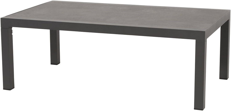 Lifestyle4living Gartentisch aus Aluminium in anthrazit, Keramik-Tischplatte, 120x70 cm, wetterfest. Ideal als Garten, Balkon-Tisch & Terrassentisch.