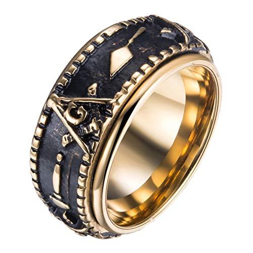 DFWY Anillos Masónicos Giratorios de Acero Inoxidable para Hombres, Anillo de Sello de Francmasón de Runas de Oro Mixto, Moda Gótica Clásico Maestro Masón Símbolo Signet Band Jewelry