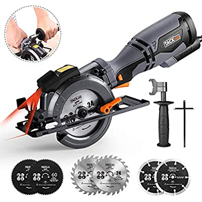 """TACKLIFE Circular Saw with Metal Handle, 6 Blades(4-3/4"""" & 4-1/2?), Laser Guide, 5.8A, Max Cutting Depth 1-11/16'' (90?), 1-3/8'' (45?), Ideal for Wood, Soft Metal, Tile and Plastic Cuts - TCS115A"""