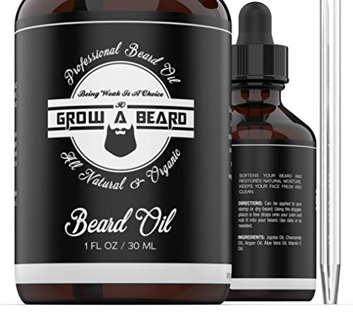 Beard Conditioning Oil For Men Unscented, Natural Moisture & Softener From Jojoba & Argan Oils NON GREASY, Mens Beard Growth Oil for Styling, Black Mustache, Father's Day Gift