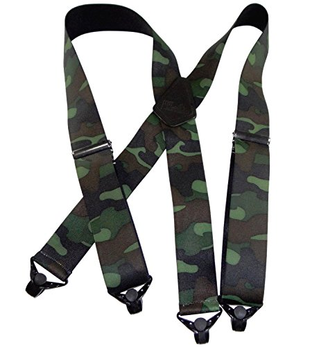 HoldUp Suspender Company's Woodland Camouflage pattern Hunting X-back Suspenders with Patented Gripper Clasps