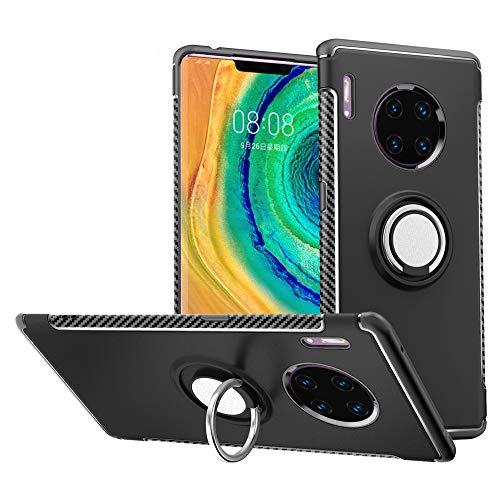 LFDZ Huawei Mate 30 Pro Hülle,360 Rotation Verstellbarer Ring Grip Stand,Ultra Slim Fit TPU Schutzhülle für Huawei Mate 30 Pro/Huawei Mate 30 Pro 5G (Not fit Huawei Mate 30),Schwarz