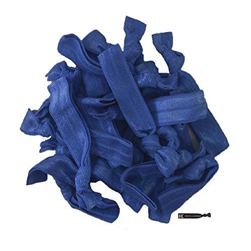 Hair Ties 20 Elastics Ponytail Holder Set No Crease Ribbon Bands (Navy)