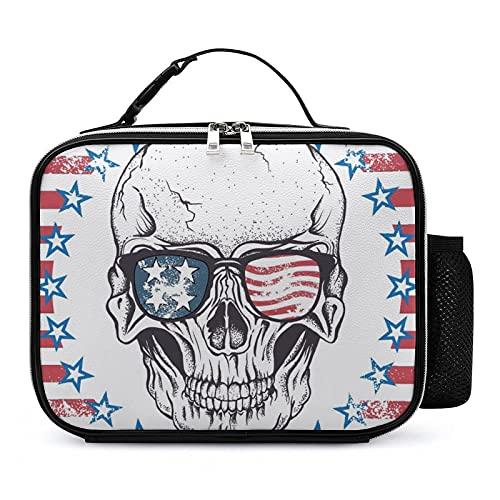 Bolsa De Almuerzo Escolar Aislada Gafas De Sol Skull En La Bandera De Estados Unidos Cooler Tote Box Para Niños, Niñas, Adolescentes, Niños