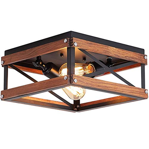 Lámpara de dormitorio Lámpara de techo Ajustable Moderno Simple Rectángulo Cagel Luz de techo Madera Hierro Creatividad Lámpara de balcón Estudio Cocina Oficina Pasillo Sala de estar,E27,32x32x17cm,B