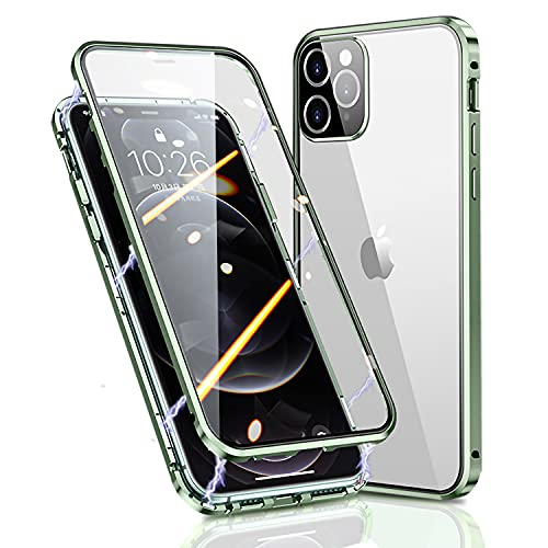 Funda iPhone 12 Pro Apple 5G Magnética Case,Protector 360 Grados Parachoques Metal con Protector Cámara,Doble Cara Vidrio Templado Transparente Carcasa para iPhone 12 Pro,Verde
