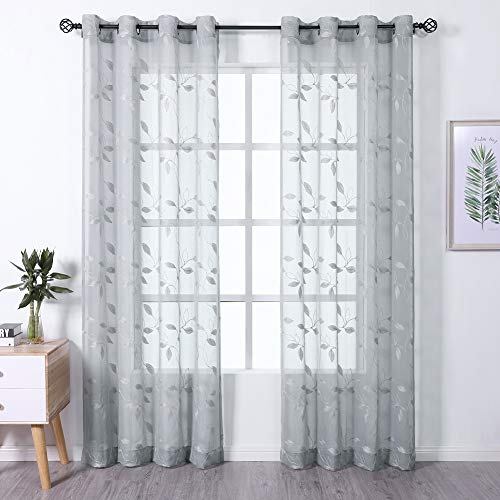 Haperlare Grey Sheer Curtains, Room Decorative Voile Grommet Sheer Curtain Panels, Botanical Embroidered Semi Sheer Window Drapes for Bedroom, 52 x 63 Inch, 2 Panels