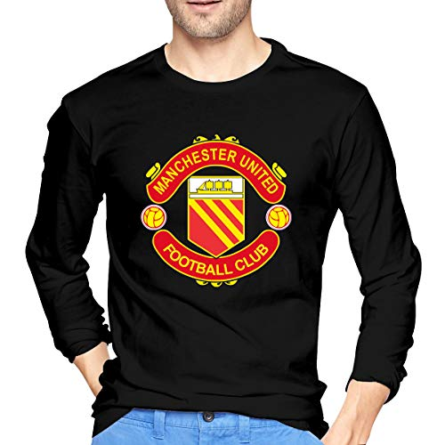 Manchester United F.C Men 100% Cotton Long Sleeve Tee Black Large