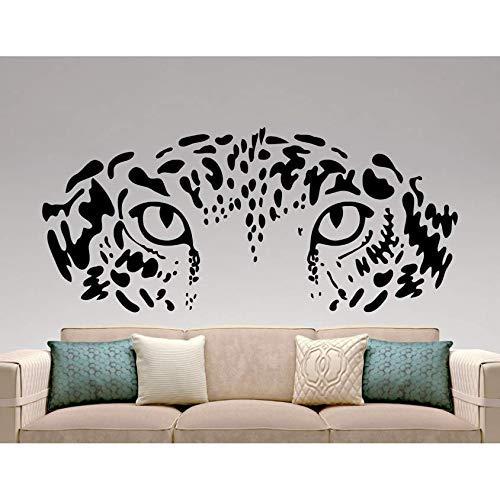 Leopard Kopf Wandaufkleber Leopard Augen Gesicht Wandtattoo Kunst Wohnzimmer Wohnkultur Wandbilder Schlafzimmer Dekoration Vinyl Aufkleber 42X94 Cm