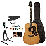 Sawtooth Acoustic Dreadnought Guitar w/Custom Black Pickguard & Graphic - Includes ChromaCast Accessories, Natural