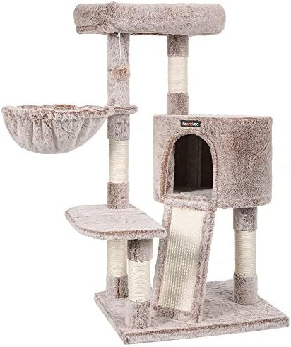 FEANDREA Cat Tree 40 9 Inches Cat Tower Plush Cat Condo with Scratching Posts Scratching Board product image